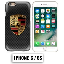 Coque iphone 6 6S logo Porsche carbonne Carrera