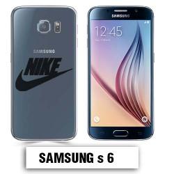 Coque transparente Samsung S6 Nike noir