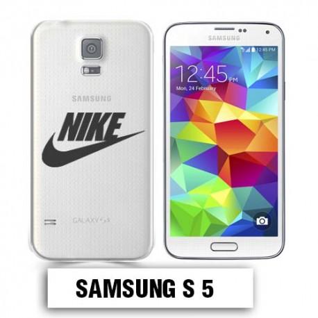 Coque transparente Samsung S5 Nike noir