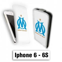 Etui cuir à rabat vertical Iphone 6 6S logo OM
