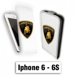 Etui cuir à rabat vertical Iphone 6 6S logo Lamborghini Gallardo