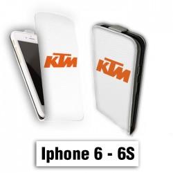 Etui cuir à rabat vertical Iphone 6 6S logo KTM blanc